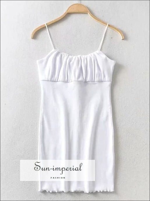 White Ruched Bust Mini Cami Dress Bodycon Fit