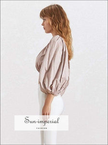 White Satin Backless Crop top Long Sleeve Blouse Lantern Puffed Sleeve