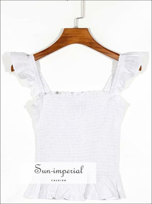 White Shirred Women Cami Tank top with Ruffles detail Casual, chick sexy style, Elegant, elegant vintage style SUN-IMPERIAL United States