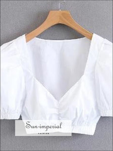 White Short Sleeve Crop top Ruched Bustier for Women SUN-IMPERIAL United States