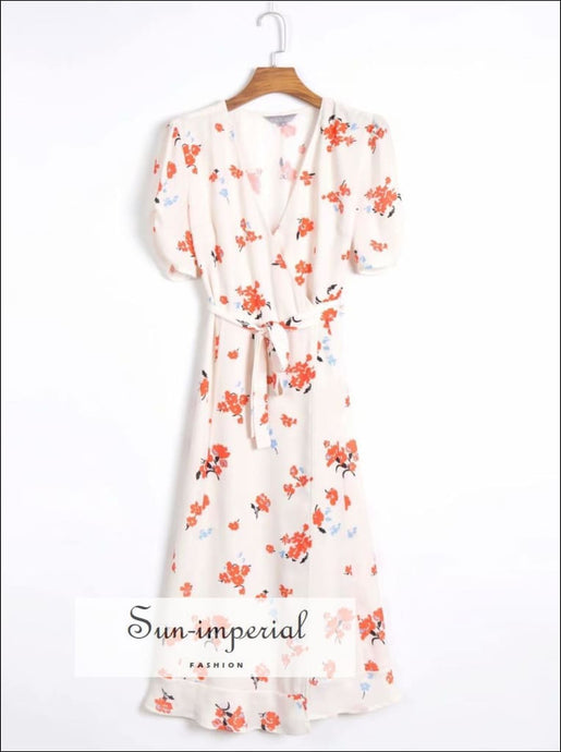 White Short Sleeve Wrap Vintage Floral Print Midi Dress SUN-IMPERIAL United States