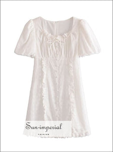 White Single Breasted A-line Vintage Mini Short Puff Sleeve Summer Dress with Lace Embroidery detail chick sexy style, vintage style
