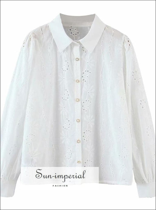 White Turn Down Collar Women Buttoned Blouse with Golden Pearl Center Buttons and Lace detail elegant style, VINTAGE STYLE SUN-IMPERIAL