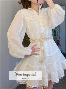 White Turtleneck Flower Embroidery A- Line Dress with Long Lantern Sleeve and Lace Decor Details elegant styke, Unique style, vintage style