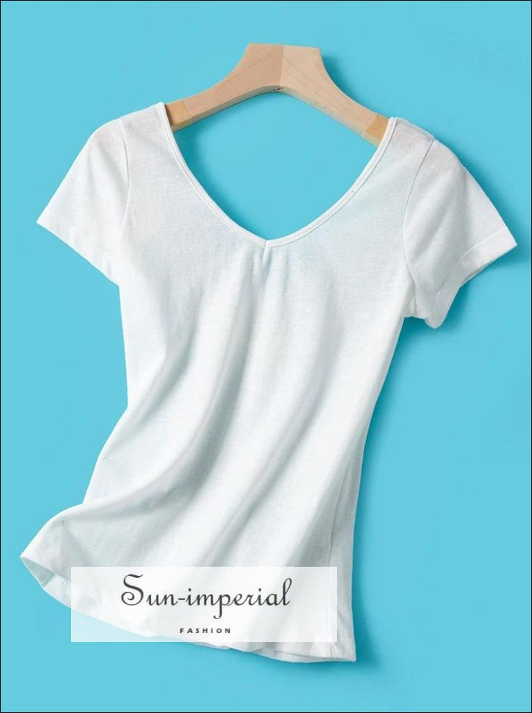 White V-neck front and back V Neck Women T-shirt Lace Buttons Detailing Short Sleeve Blouse Basic style, vintage women t-shirt SUN-IMPERIAL
