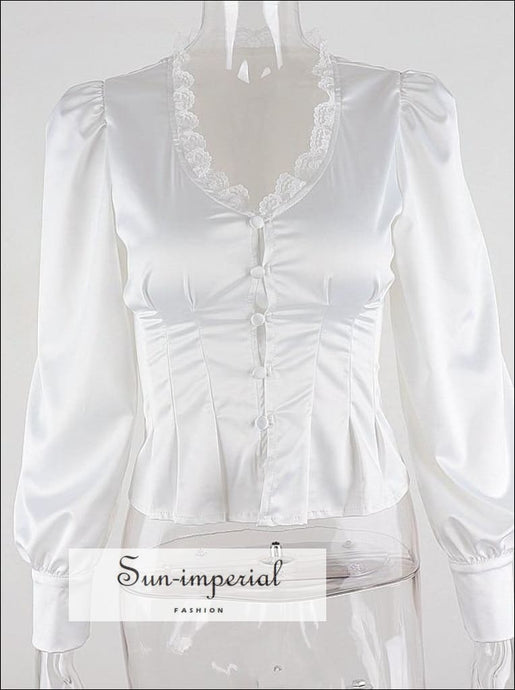 White V-neck Lace Women top Longlantern Sleeve Button up Elegant Vintage Blouse chick sexy style, Unique vintage style SUN-IMPERIAL United
