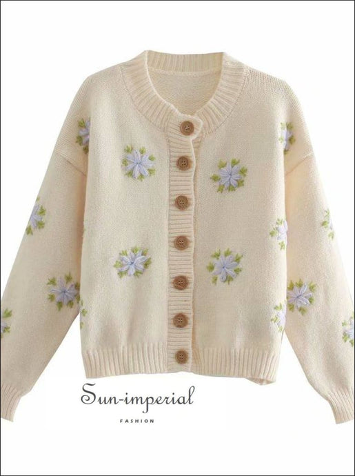 White Vintage Buttoned Cardigan with Floral Embroidery detail Women Casual Knitted Sweater top vintage style SUN-IMPERIAL United States