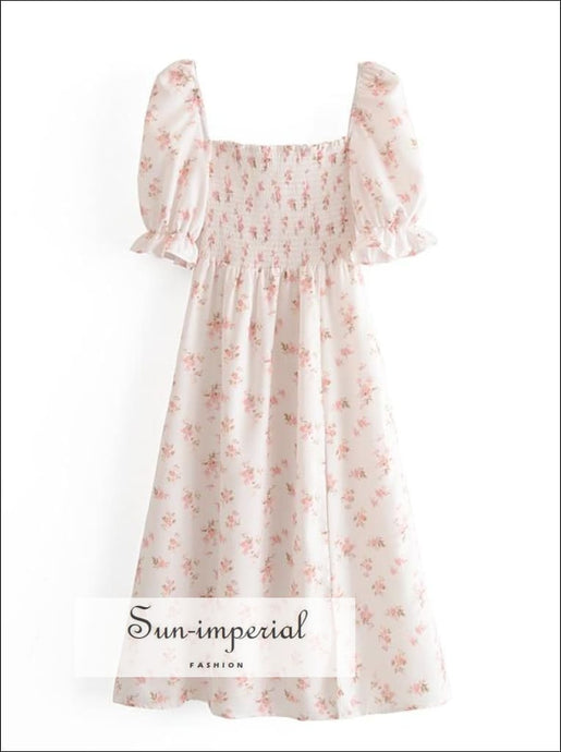 White Vintage Chiffon Split front Elastic Bust Floral Print Maxi Dress SUN-IMPERIAL United States