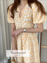 White Vintage High Waist Elegant V-neck Short Puff Sleeve Midi Dress with Yellow Floral Lace and elegant style, Unique vintage style