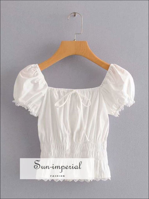 White Vintage Short Sleeve top with Center Bow Elastic Waist Women Blouse SUN-IMPERIAL United States