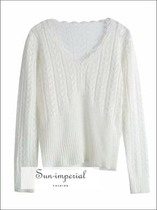 White Vintage Sweater Ruffles V Neck Decor thin Knitted Pullover white vintage decor SUN-IMPERIAL United States