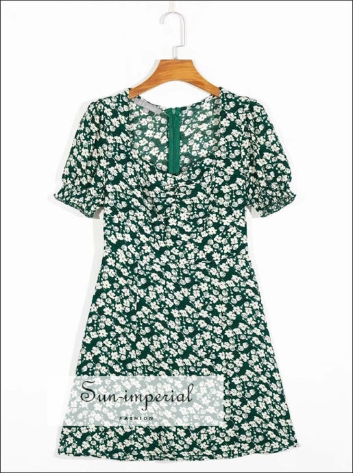 White Vintage Sweetheart Square Neckline Blue Floral Print Mini Dress with Short Puff Sleeve SUN-IMPERIAL United States