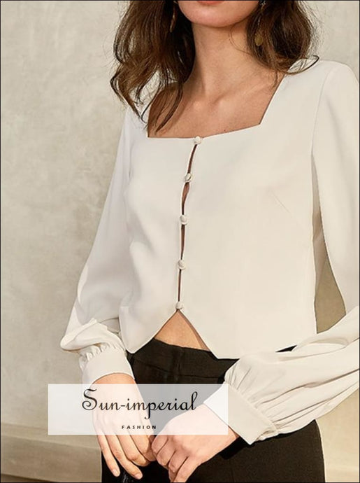 White Vintage Women Square Collar Blouse with Lantern Long Sleeve Elegant Buttoned top elegant style, Unique vintage style SUN-IMPERIAL