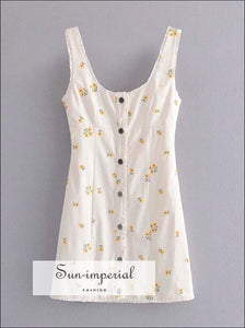 White Vintage Yellow Floral Button-up Bodycon Square Collar Mini Dress chick sexy style SUN-IMPERIAL United States