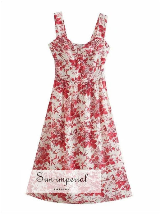 White with Red Floral Print Wide Cami Strap Vintage A-line Midi Dress Corset Style Bust a- line midi dress, Beach Print, bohemian style,