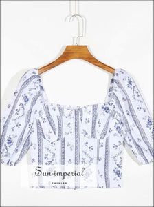 White Women Blouse with Blue Floral and Stripe Print Puff Half Sleeve Sweetheart Neckline top chick sexy style, vintage style SUN-IMPERIAL