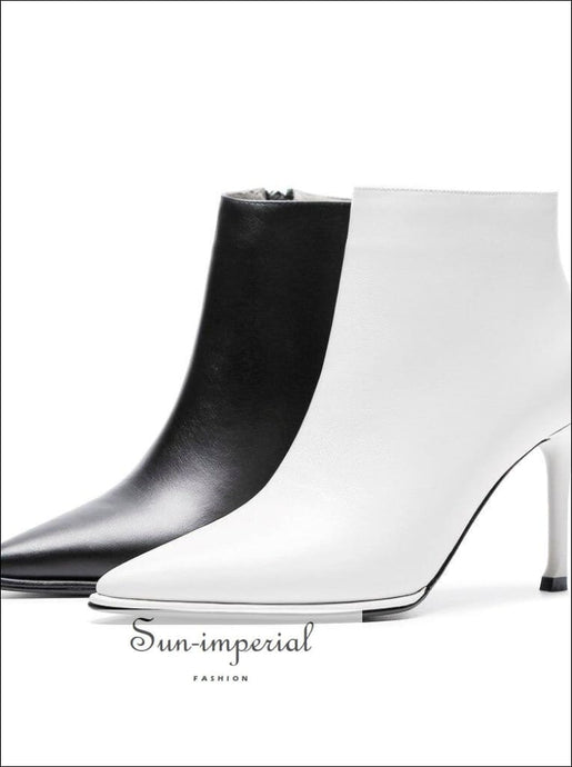 White/black Ankle Boots Genuine Leather High Heels 8cm Boots Women's Shoes