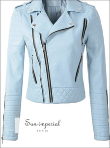 White/teal/burgundy/black/pink Women Motorcycle Faux Leather Jackets Long Sleeve Biker Leather