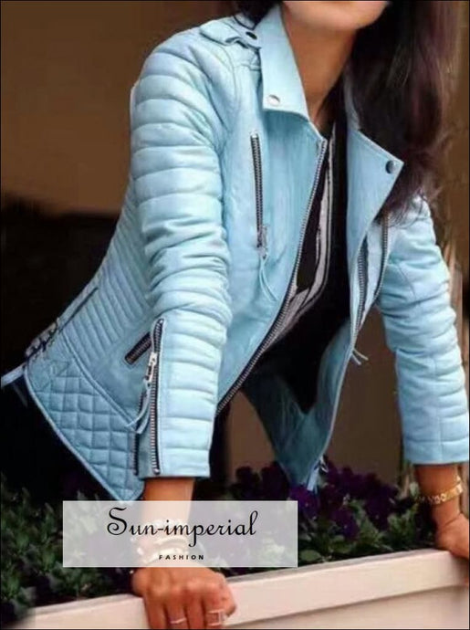 white/teal/burgundy/black/pink Women Motorcycle Faux Leather Jackets Long Sleeve Biker leather jacket Black Coat Faux Leather Jacket Coat