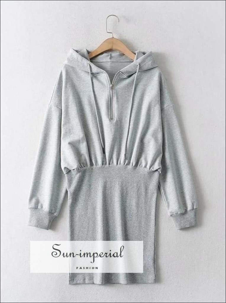 White Half Zip front Mini Hoodie Sweat Dress Drop Shoulder Hooded Sporty BASIC, Basic style, Sporty, sporty street style SUN-IMPERIAL United