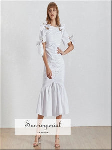 Willow Dress- Bowknot Women white midi Dress high Neck Short Sleeve High Waist Ruched mermaid Slim Midi Dress Short Sleeve Slash Neck Slim