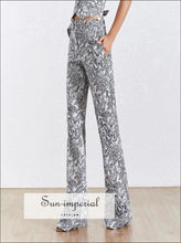 Winery Pants- Vintage full Length Pencil Pant High Waist Slim Zipper Skinny Print Pants