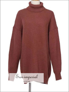 Winter Turtleneck Knitted Sweater Women Casual Loose Long Sweater Pullover Female Oversize Pull Knit