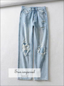 woman Vintage distressed jeans high waist ripped boyfriend jeans SUN-IMPERIAL United States