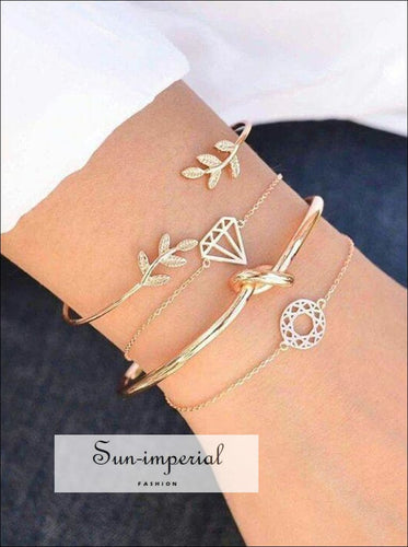 women 4 Pcs/ bracelets Bohemian Set Leaves Knot Round Chain Opening Gold Bracelet Set SUN-IMPERIAL United States