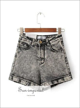 Women Acid Wash Stretch Bull High-waist Jean Cuff Shorts Casual Denim Faded Elastic Denim Shorts
