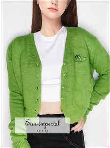 Women Green Angora Yarns Embroidered Letter Cardigan