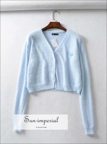 Women Sky Blue Angora Yarns Embroidered Letter Cardigan
