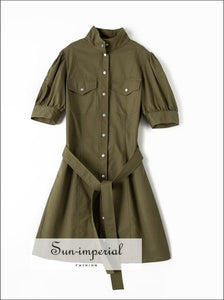 Women Army Green Buttoned Short Puff Sleeve Mini Dress with Stand-up Collar front Pockets and Tie casual style, elegant harajuku Preppy