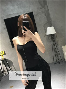 Women Basic Sweetheart neck Boned Corset Fashion Shapewear Zip back Tube Tops Slim fit Strapless Top SUN-IMPERIAL United States