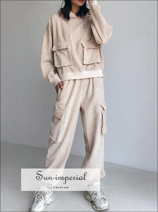 Women Beige Corduroy Oversized Hoodie with Pocket and Relaxed Cargo Pants Co-ord Set Basic style, casual harajuku PUNK STYLE, sporty style