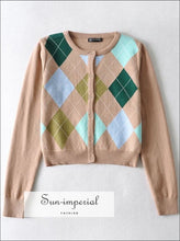 Women Beige Crew Neck Crop Knit Buttoned Long Sleeve Cardigan with Argyle Pattern With Pattern, casual style, harajuku Preppy Style Clothes,