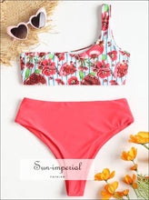 Women Bikini Set Swimwear Push-up Padded Print Single Shoulder Swimsuit Beachwear 0630