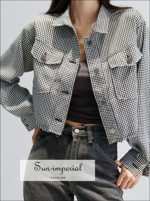 Women Black and White Spread Collar Cropped Plaid Houndstooth Jacket with Raw Hem Shacket chick sexy style, street unique vintage style