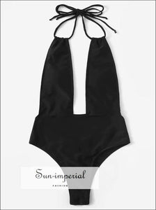 Women Black Beach Swimsuit One Piece High Waist Backless Plunge-in Neck - Deep V Neckline