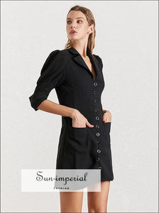 Women Black Blazer Mini Dress with Lapel Collar Puff Sleeve Buttoned elegant style SUN-IMPERIAL United States