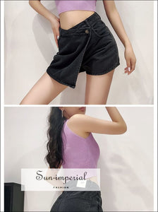 Women Black Casual an Asymmetric Wrap-style front Denim Shorts with side Pockets Mini Skirt denim shorts, green omen skirt shorts