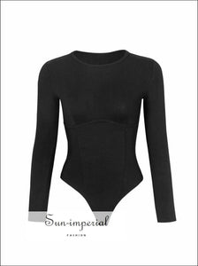 Women Black Crew Neck Corset Style Bust Seams Long Sleeve Bodysuit Basic style, bsic casual chick sexy corset style SUN-IMPERIAL United