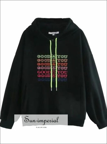 Women Black Embroidery Letters front Oversized Hoodie Drop Shoulder Sweatshirt street style, streetwear, women swatshirt SUN-IMPERIAL United