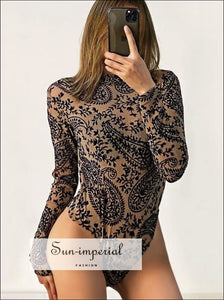 Women Black Glitter Leopard Sequin Sheer Long Sleeve Bodysuit black long sleeve sheer bodysuit, chick sexy style, PUNK STYLE, SUN-IMPERIAL
