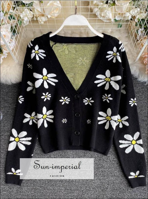 Women Black Knitted Long Sleeve Cardigan with White Daisy Flower detail casual style, chick sexy vintage style SUN-IMPERIAL United States