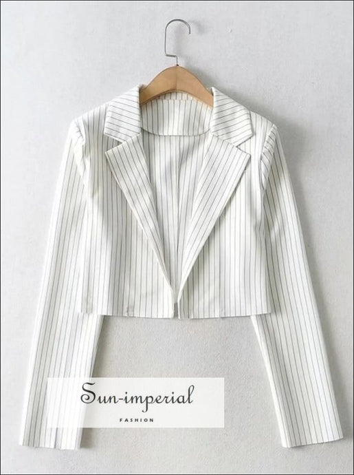 Women Black Notch Lapels Collar Striped Cropped Blazer Coat chick sexy style, elegant street style SUN-IMPERIAL United States