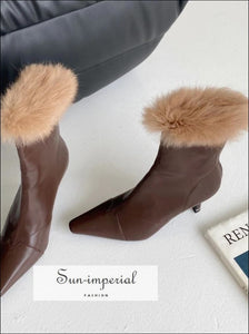Women Black Pointed Toe Ankle Boots with thin High Heels back Zipper and Brown Fur detail Booties black pointed toe high heels fur, boots,
