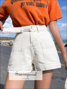 Women Black White and Blue Denim Shorts with Belt Street Style Pockets High Waist