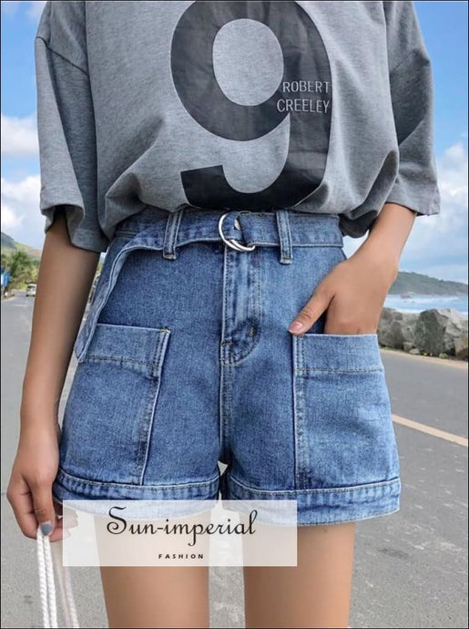 Women Black White And Blue Denim Shorts With Belt Street Style Pockets High Waist BASIC SUN-IMPERIAL United States