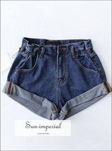 Women black white Elastic high waist denim short BASIC SUN-IMPERIAL United States